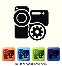 Black Video camera and gear icon isolated on white background. Adjusting app, service concept, setting options, maintenance, repair, fixing. Set icon in color square buttons. Vector Illustration