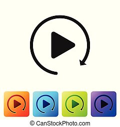 Black Video play button like simple replay icon isolated on white background. Set icon in color square buttons. Vector Illustration