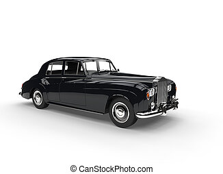 Black Vintage Car On White