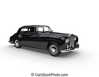 Black Vintage Car On White