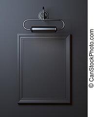 Black vintage frame with lamp