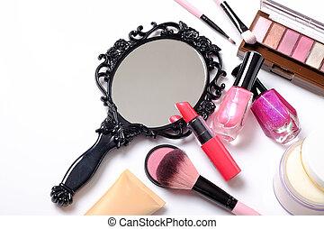 Black vintage hand mirror on white background.