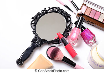 Black vintage hand mirror on white background.