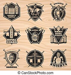 Black Vintage Knights Emblems Set