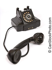 Black vintage phone with scratches with receiver off the...