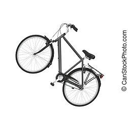 black vintage road bike isolated on white background