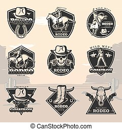 Black Vintage Rodeo Logos Set