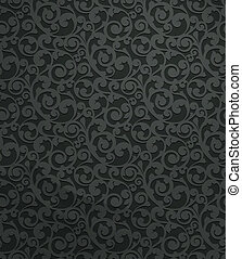 Black vintage seamless pattern, vector