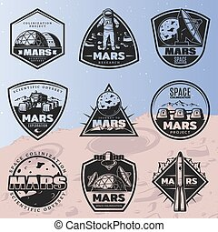 Black Vintage Space Discovery Labels Set