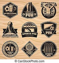 Black Vintage Sport Bar Labels Set