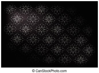 Black Vintage Wallpaper With Flower Pattern Background