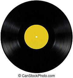 Black vinyl lp album disc, isolated long play disk blank