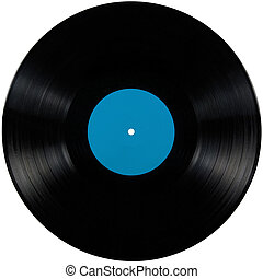 Black vinyl lp album disc; isolated long play disk with...