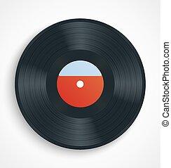 Black vinyl record album disc