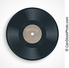 Black vinyl record album disc with blank brown label