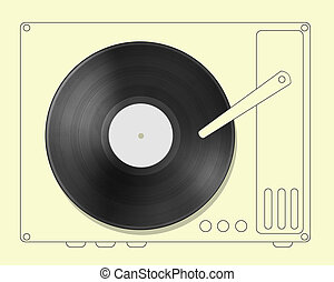 Black vinyl record disc with hand drawn player