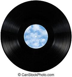 Black vinyl record lp album disc; isolated long play disk...