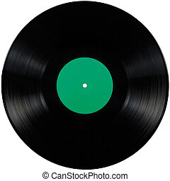 Black vinyl record lp album disc; isolated long play disk with blank label in green