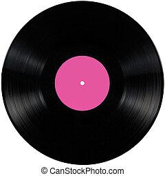 Black vinyl record lp album disc; isolated long play disk