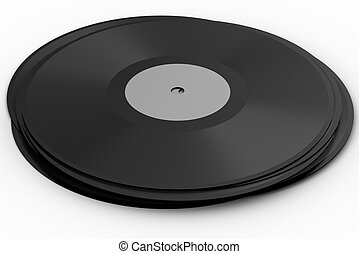 Black vinyl record lp album disc over white background