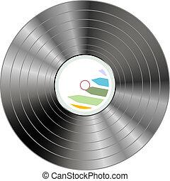Black vinyl record lp album disc isolated on white