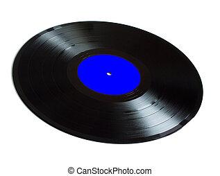 Black vinyl records isolated