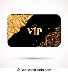Black vip card template with glitter effect and golden bow...