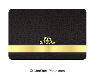 VIP card with vintage floral pattern in black color