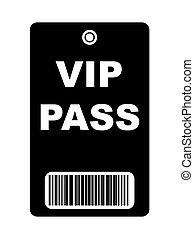 Black VIP Pass - Black VIP access pass with bar code,...