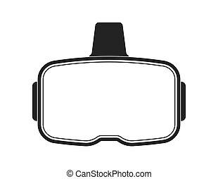 Black virtual reality headset on white background