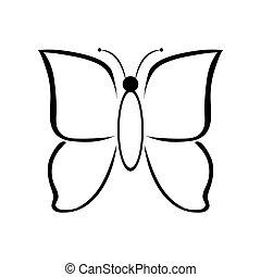 black , vlinder, achtergrond, witte