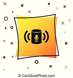 Black Voice assistant icon isolated on white background. Voice control user interface smart speaker. Yellow square button. Vector Illustration