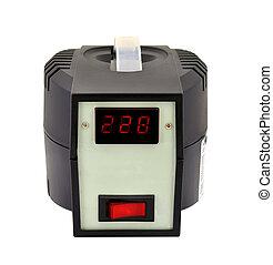 voltage regulator - black voltage regulator on a white...