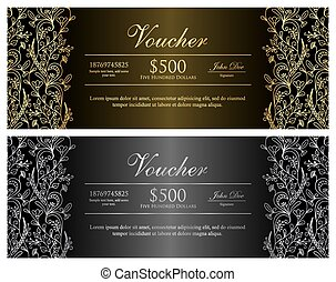 Black voucher with gold and silver floral pattern