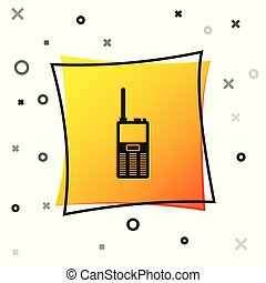 Black Walkie talkie icon isolated on white background. Portable radio transmitter icon. Radio transceiver sign. Yellow square button. Vector Illustration