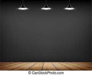 Black wall and wooden floor. Empty room template.