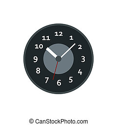 Black wall clock icon, flat style