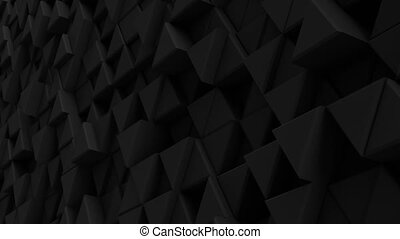 Black wall of extruded triangles 3D render loopable animation