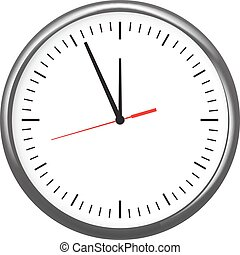 Black wall office clock icon showing five minutes to twelve. For new year concept.