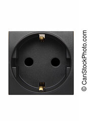 black wall plug isolated at white background