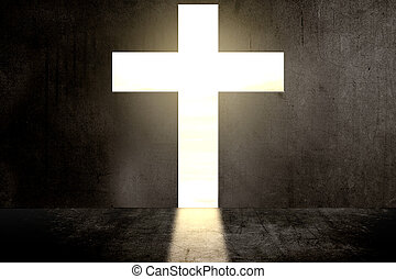 Black wall with Christian cross shape with sunlight ...