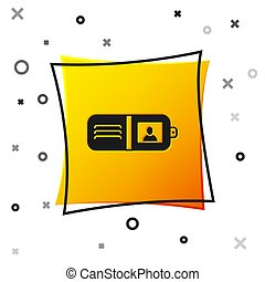 Black Wallet icon isolated on white background. Purse icon. Cash savings symbol. Yellow square button. Vector Illustration