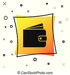 Black Wallet icon isolated on white background. Yellow square button. Vector Illustration