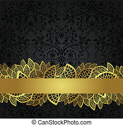 Seamless black wallpaper and golden lace banner. This image is a vector illustration.
