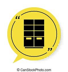 Black Wardrobe icon isolated on white background. Yellow speech bubble symbol. Vector
