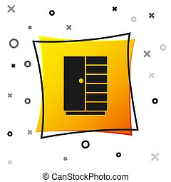 Black Wardrobe icon isolated on white background. Yellow square button. Vector