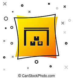 Black Warehouse icon isolated on white background. Yellow square button. Vector