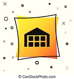 Black Warehouse icon isolated on white background. Yellow square button. Vector Illustration