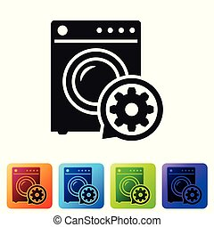 Black Washer and gear icon isolated on white background. Adjusting app, service concept, setting options, maintenance, repair, fixing. Set icon in color square buttons. Vector Illustration