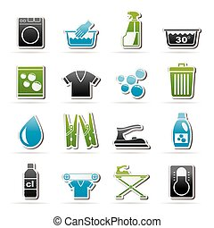 Black Washing machine and laundry icons